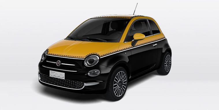 Photo Fiat 500 Noir Jaune Avant