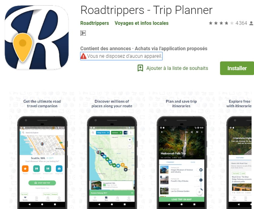 Application Android Roadtrippers – Trip Planner