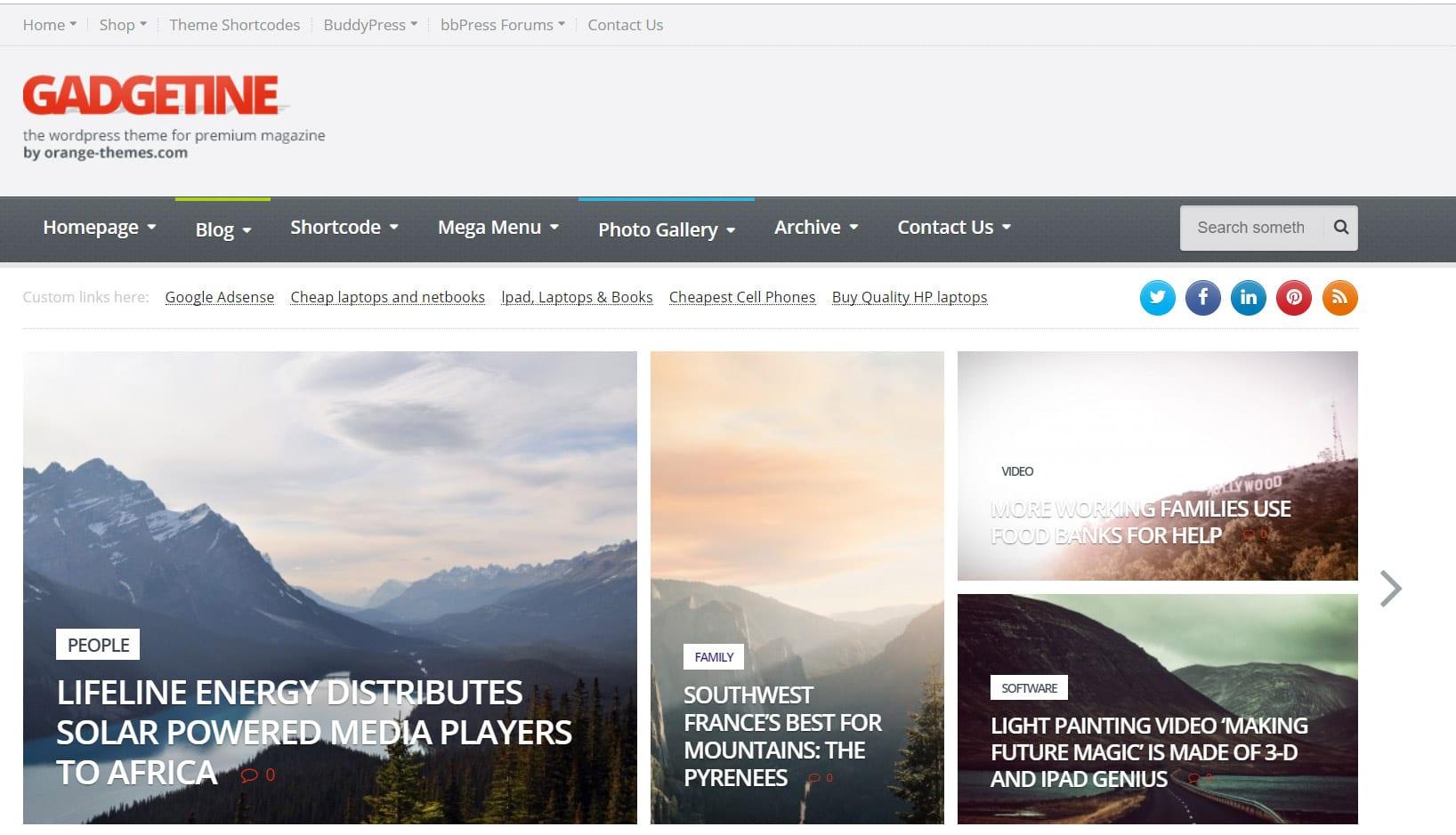 Gadgetine Theme Magazine WordPress